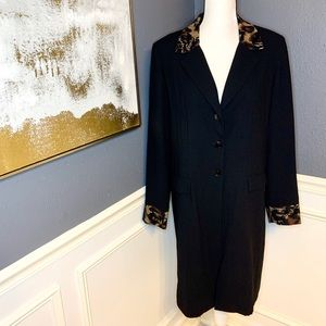 Danny and Nicole leopard & lace accent overcoat